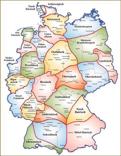 Dialektgebiete in Deutschland